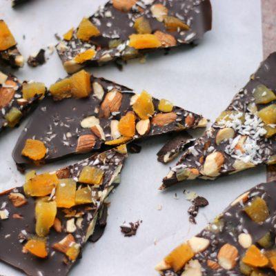 Dark Chocolate Bark with Apricot, Almonds, and Sea Salt