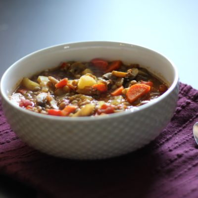 Hearty Mushroom Lentil Soup