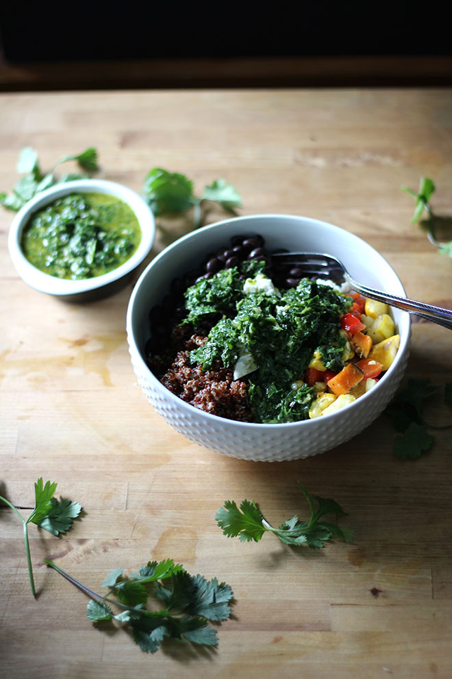Nourish Bowl with Roasted Vegetables and Chimichurri