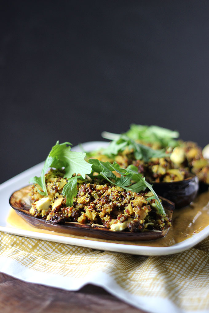 Vegetarian Stuffed Eggplant | Dietitian Debbie Dishes