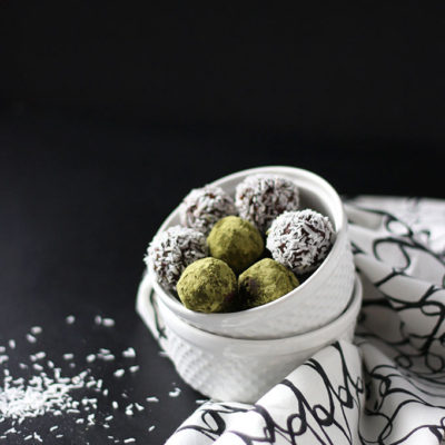 Matcha and Coconut Date Truffles