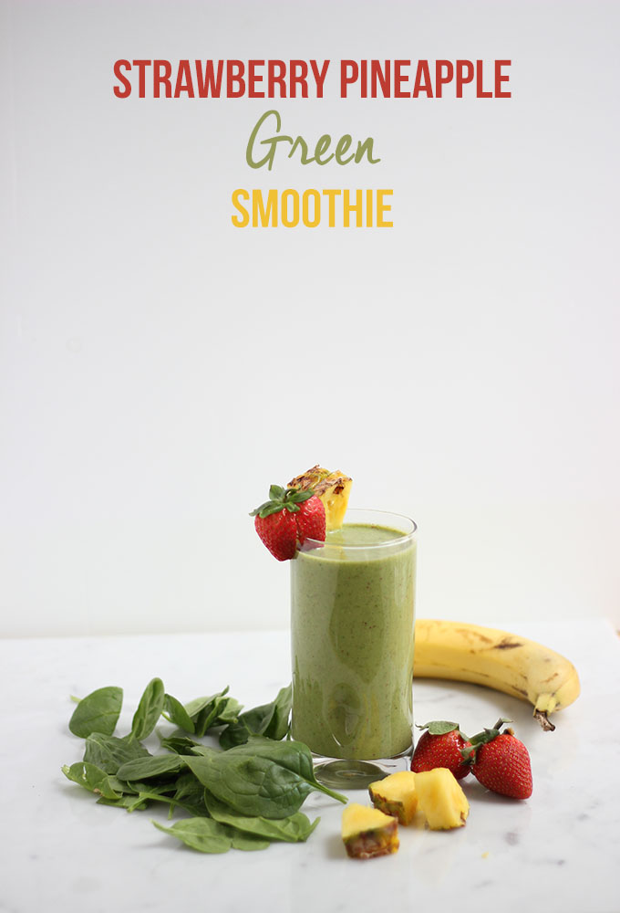 Strawberry Pineapple Green Smoothie | Dietitian Debbie Dishes