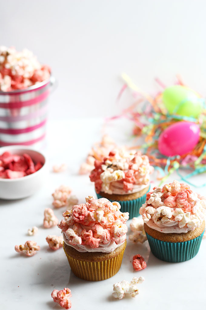 Strawberry Shortcake Cupcakes with Popcorn