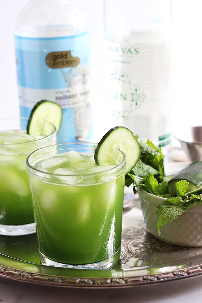 Cucumber Mint Cocktail | Dietitian Debbie Dishes
