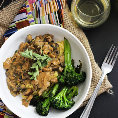 Vegan Seitan and Mushrooms with Polenta