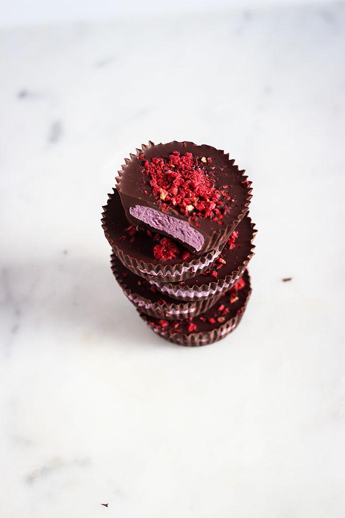 Dark Chocolate Berry Cashew Cream Cups | Vegan