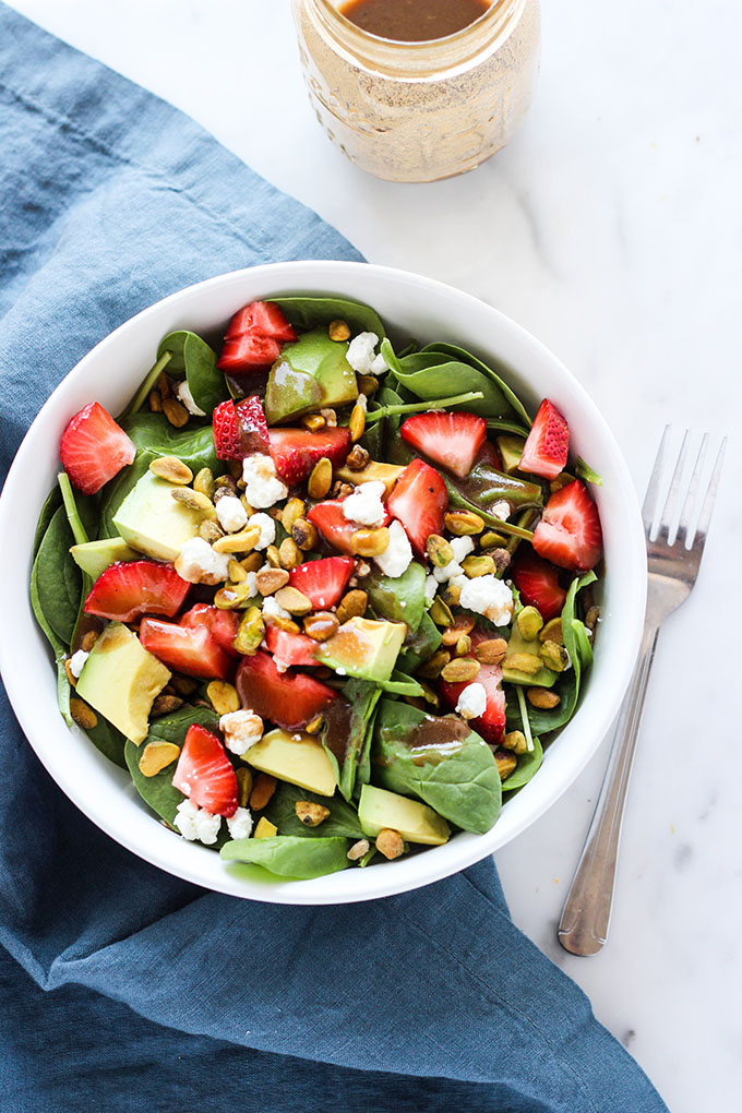 Strawberry Avocado and Farro Salad with Pistachios and Goat Cheese