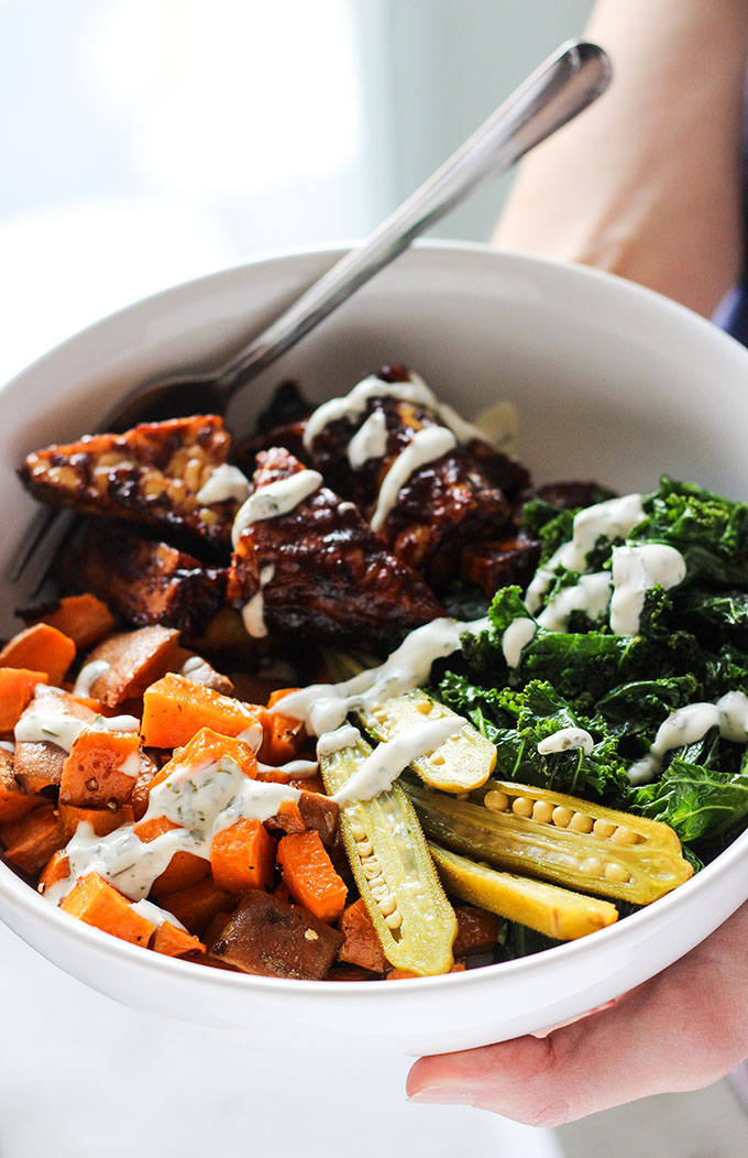 BBQ Tempeh and Ranch Kale Bowl 2