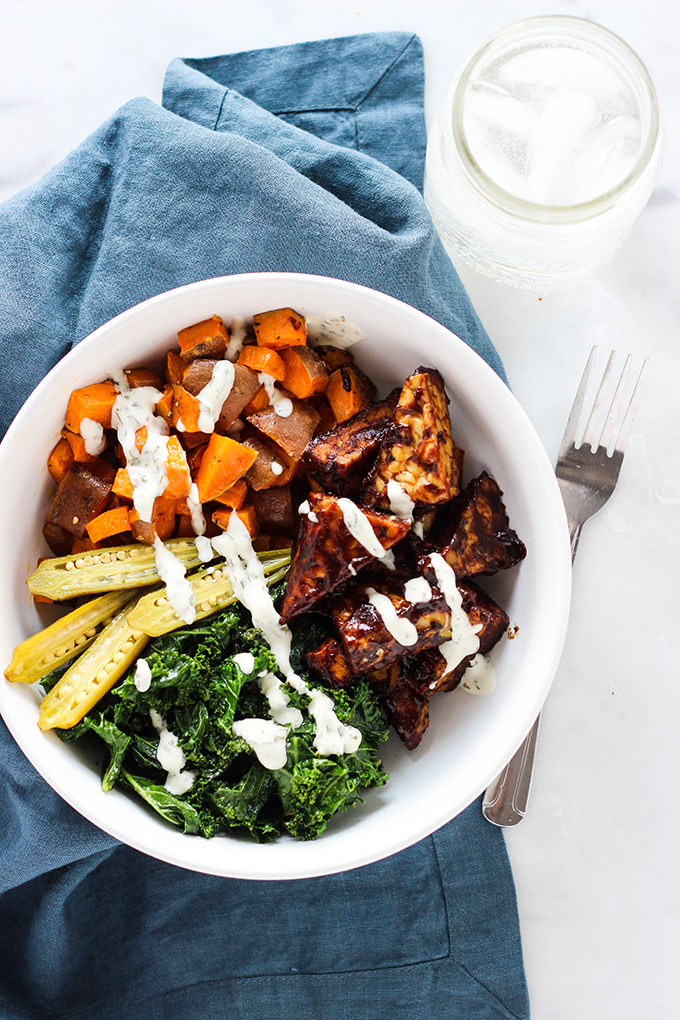 BBQ Tempeh and Ranch Kale Bowl 3