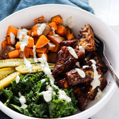 BBQ Tempeh and Ranch Kale Bowl