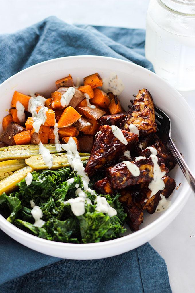 Vegan BBQ Tempeh and Ranch Kale Bowl