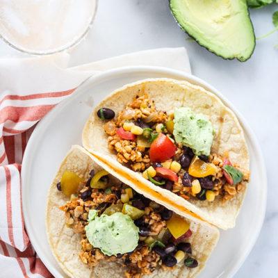 Chipotle Tempeh Tacos with Black Bean Salsa and Avocado Crema