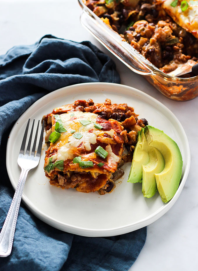 Walnut Mushroom Enchilada Casserole | Vegetarian | #Sponsored