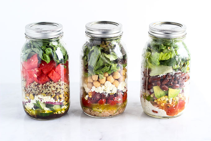Salad in a Jar 3 Ways | Healthy Packed Lunch Ideas
