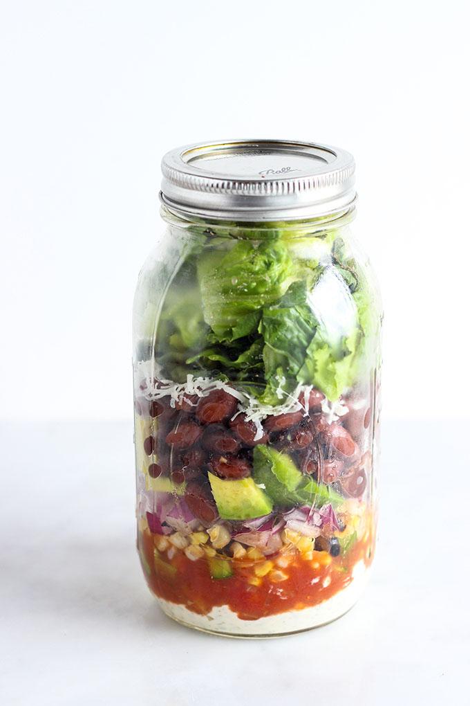 Vegetarian Taco Salad in a Jar