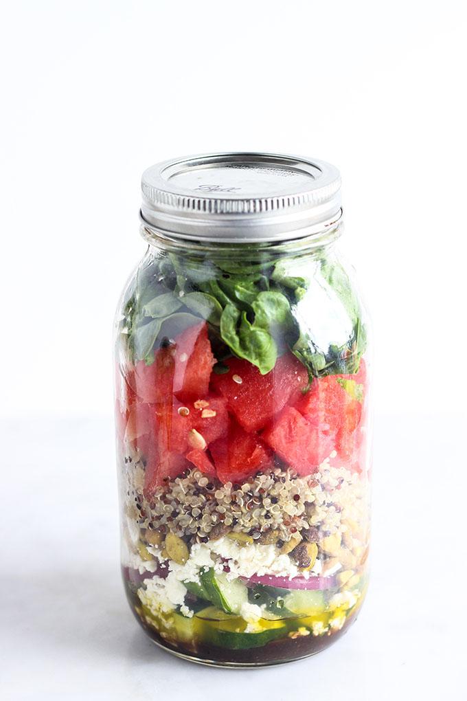 Watermelon Spinach Salad in a Jar