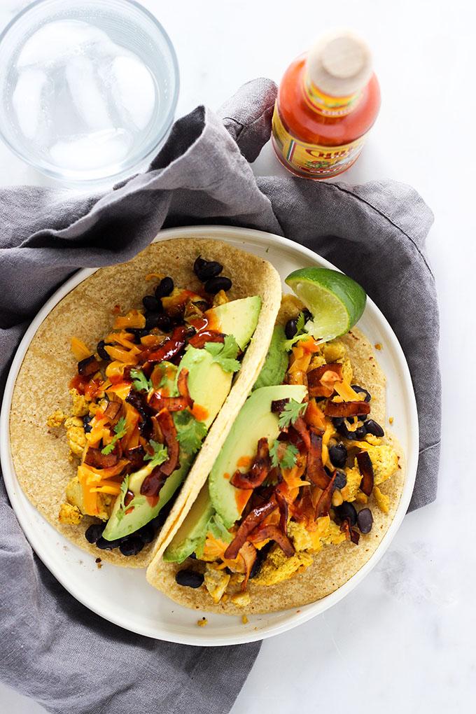 Tofu Breakfast Tacos with Coconut Bacon