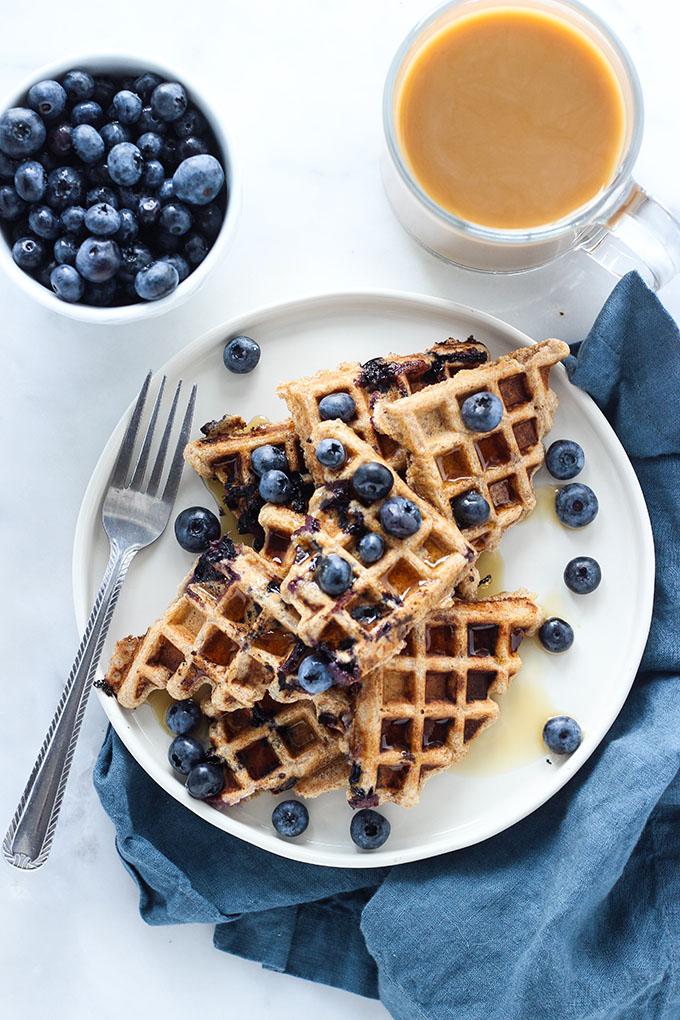 Vegan Whole Wheat Blueberry Waffles