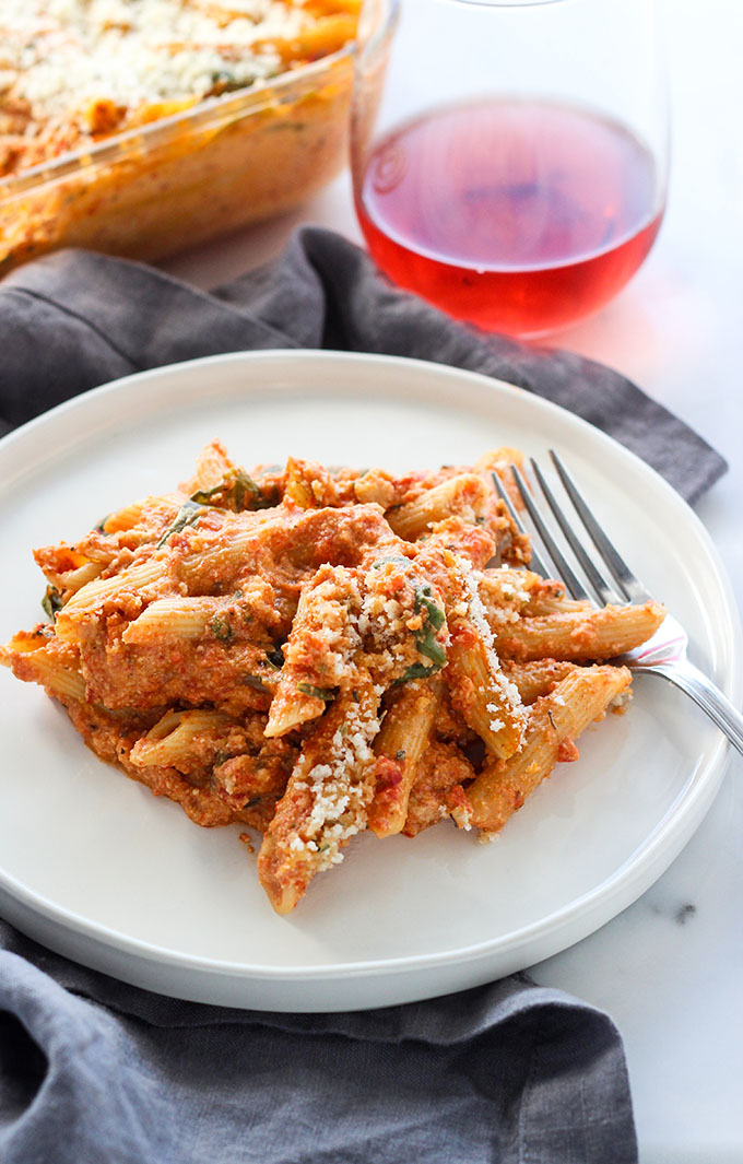 Creamy Baked Red Pepper Penne Pasta