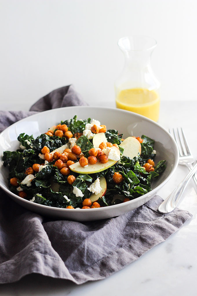 Kale Salad with Crispy Chickpeas and Apples