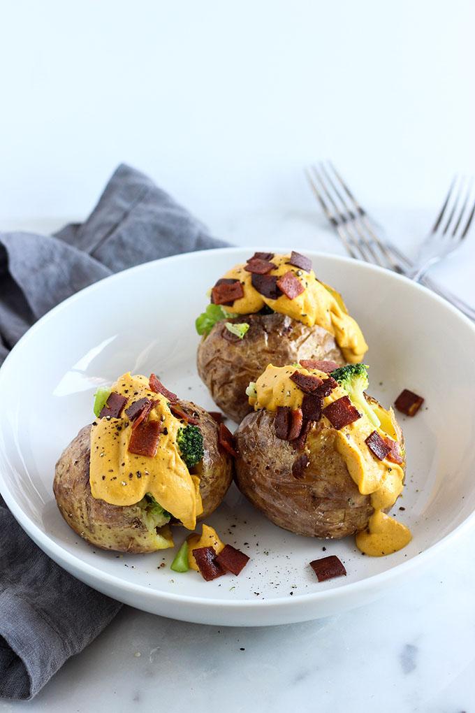 Vegan Broccoli and Cheddar Stuffed Potatoes