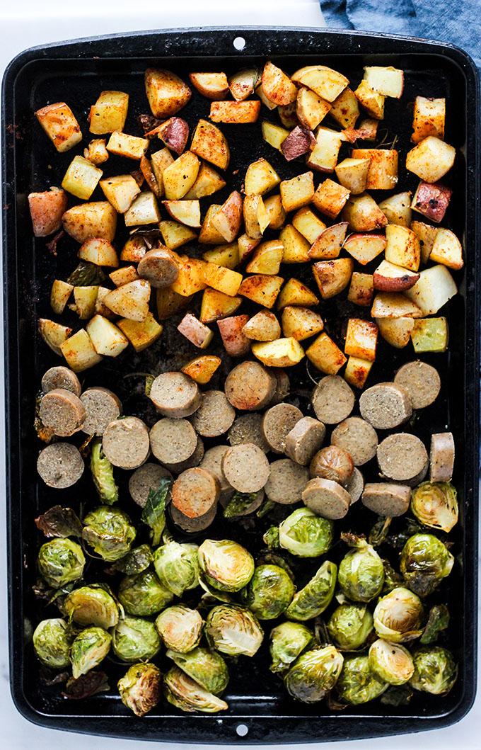 Vegan Sausage Sheet Pan Dinner