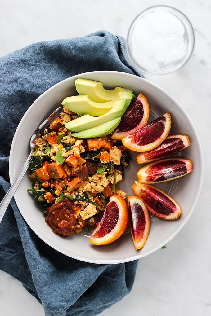 Chipotle Tofu and Sweet Potato Skillet   Vegan, Easy, Main Dish