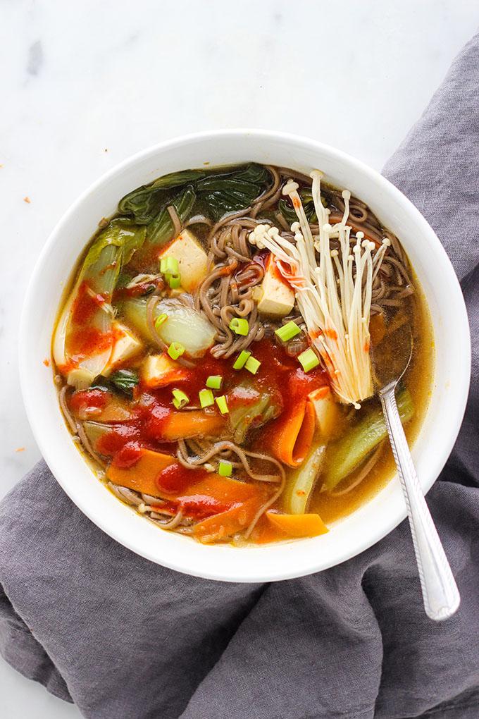 Miso Soba Noodle Soup with Tofu   Vegan
