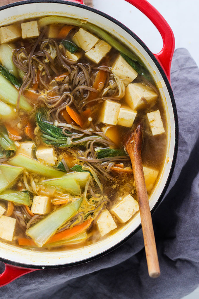 Miso Soba Noodle Soup with Tofu | Vegan