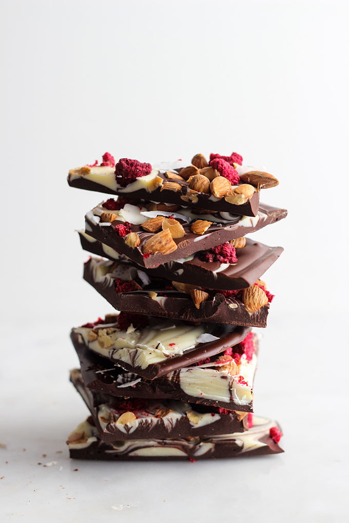 Raspberry Almond Dark Chocolate Bark | A pretty desert to make for your sweetie this Valentine's Day!