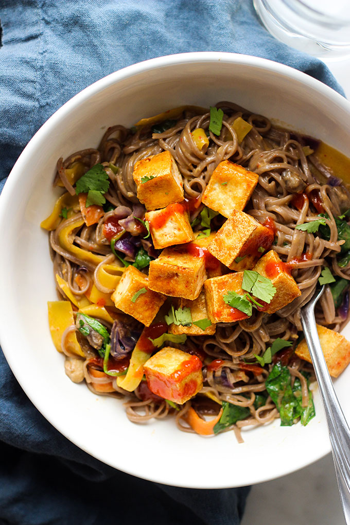 Vegan Curry Soba Noodles with Crispy Tofu