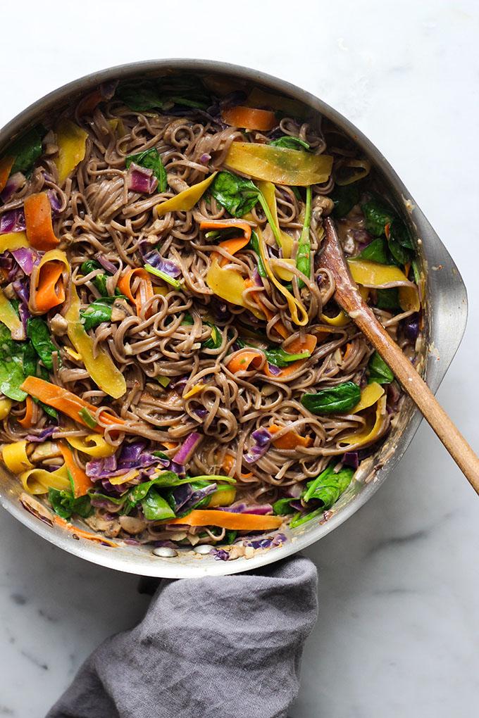 Vegan Curry Soba Noodles with Crispy Tofu