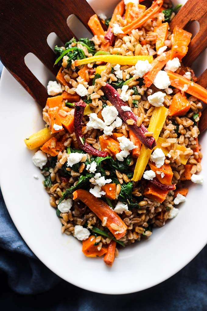 Warm Farro Salad with Roasted Root Vegetables | Dietitian Debbie ...