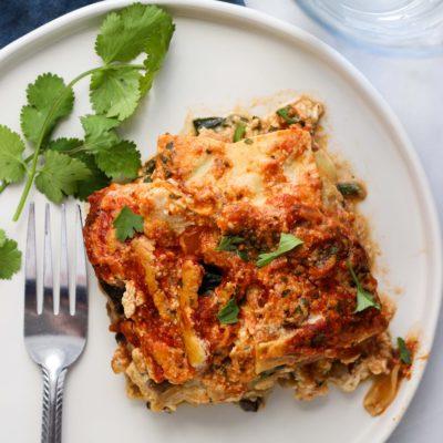 Vegan Spinach and Mushroom Lasagna