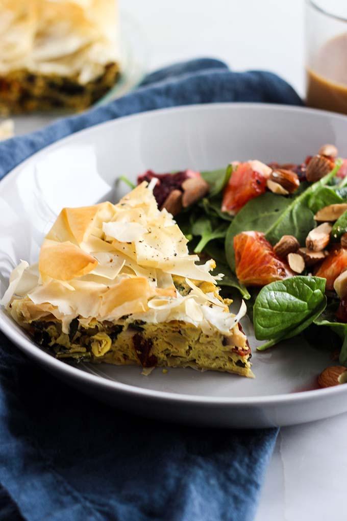 Vegan Quiche with Kale, Tomato, and Artichoke 4