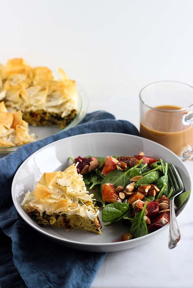 Vegan Quiche with Kale, Tomato, and Artichoke