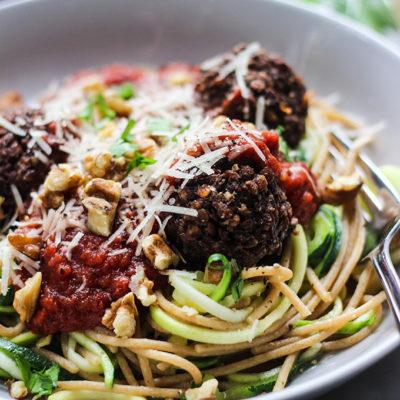 "Lentil Walnut ""Meatballs"" and Spaghetti"