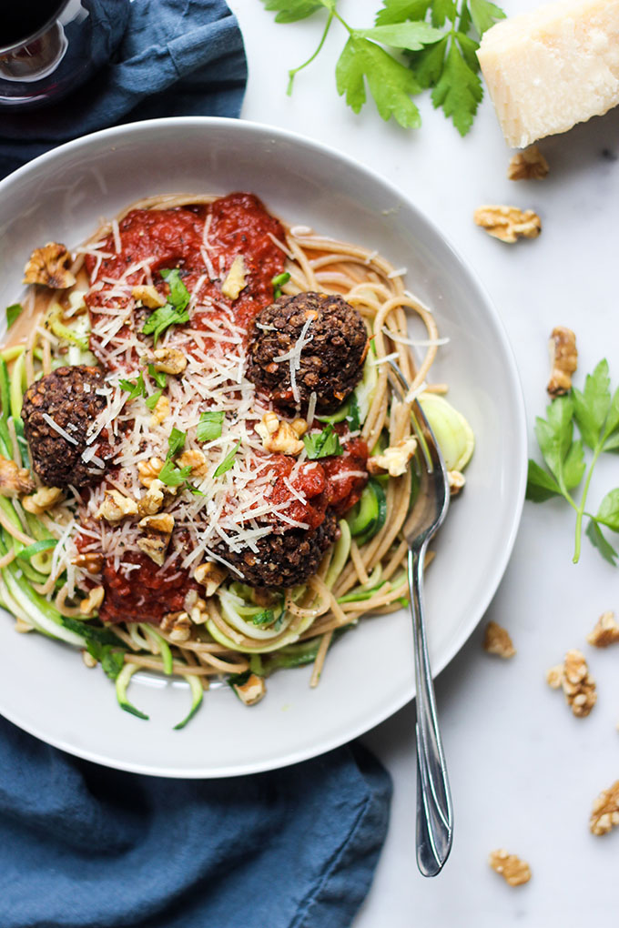 Lentil Walnut Meatballs and Spaghetti