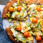 Zucchini, Tomato, and Corn Pizza with Sweet Potato Crust
