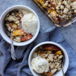 Ginger Peach Crisp - a super simple summery dessert that is a fun twist on a classic!