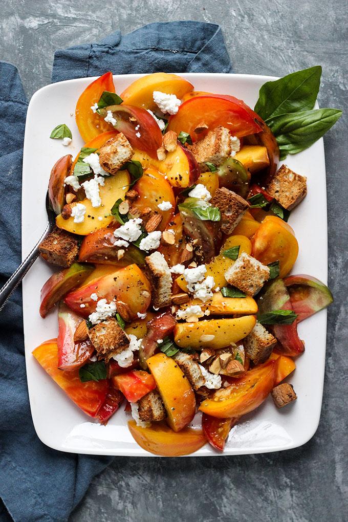 Peach and Tomato Panzanella Salad