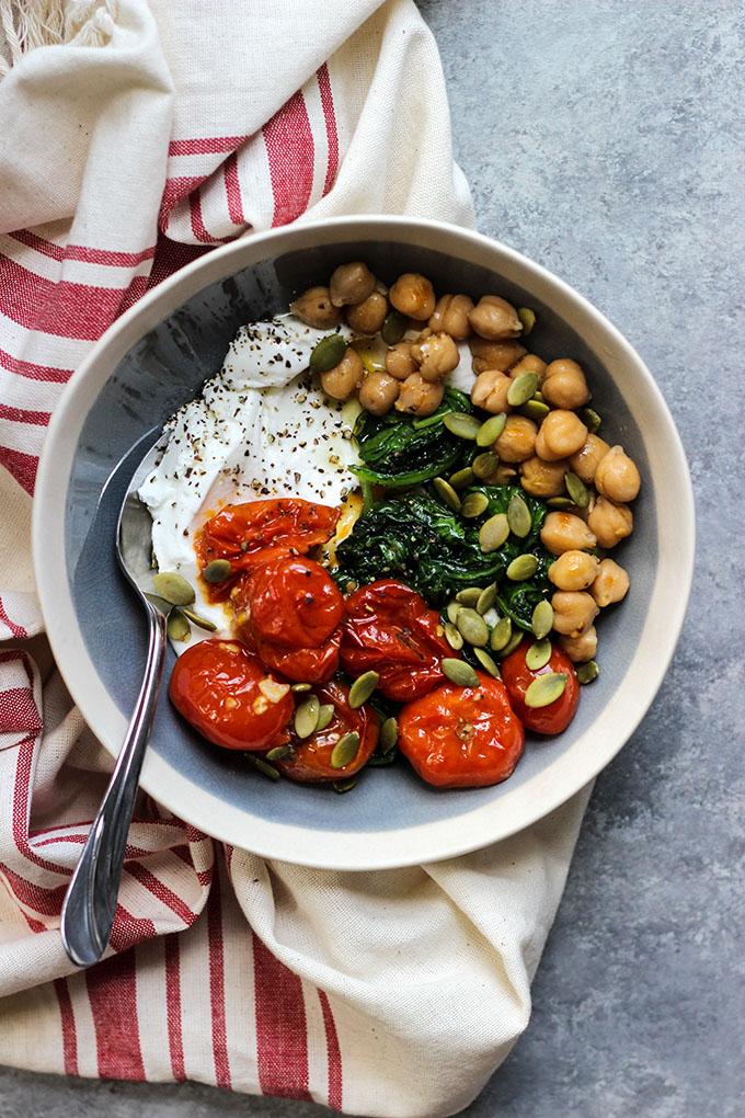 Roasted Tomato Spinach Yogurt Bowl