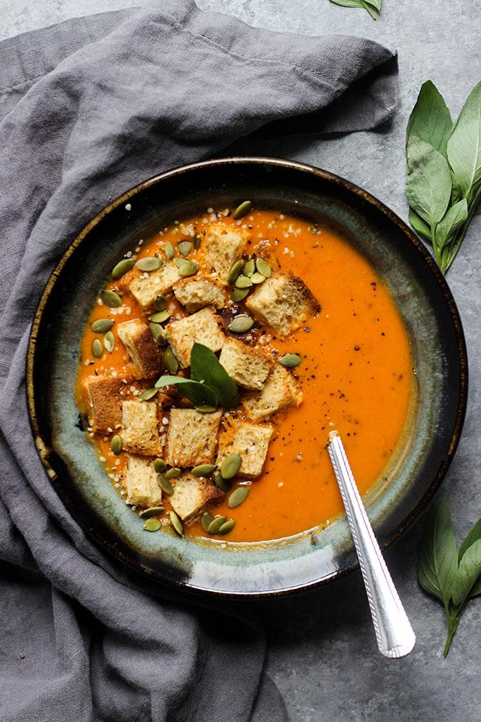 Thai Tomato Basil Soup | Vegan