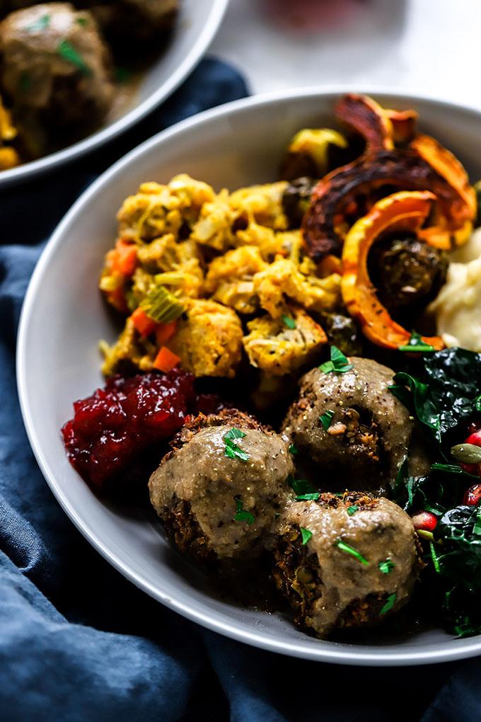Vegan Meatballs with Mushroom Gravy | A delicious plant-based Thanksgiving entree!