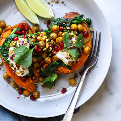 Curry Chickpea Stuffed Sweet Potatoes