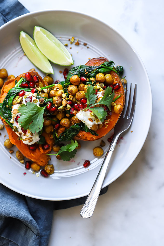 Curry Chickpea Stuffed Sweet Potatoes Dietitian Debbie