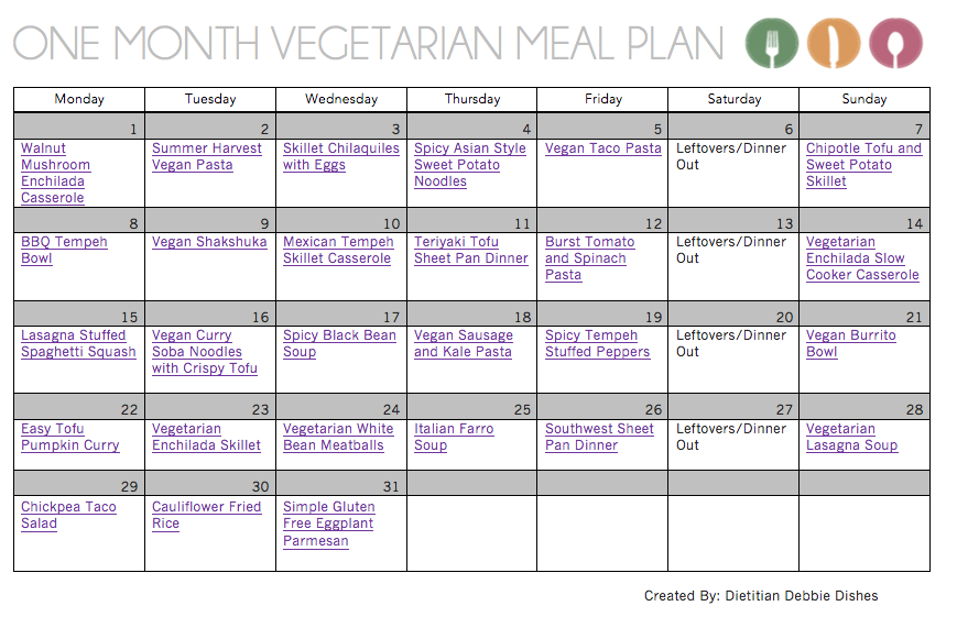 One Month Vegetarian Meal Plan