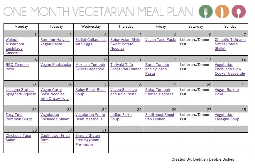 One Month Vegetarian Meal Plan