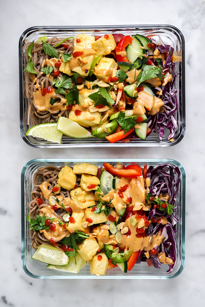 Soba Noodles with Peanut Sauce | No more sad desk lunches for you! #Healthy #MealPrep
