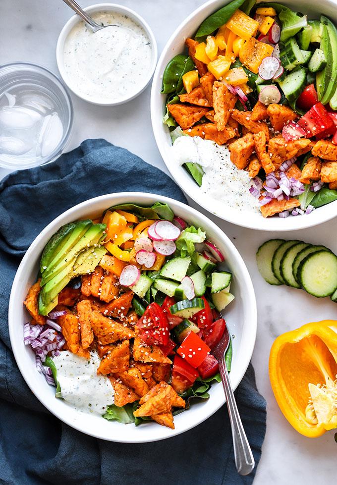 Buffalo Tempeh Salads | Vegan, Healthy Dinner Meal